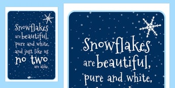 Snowflake Poem Display Poster - snowflake, snow, winter, seasons, winter poems, poem, display poster, poster, poster for display, winter display, display