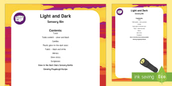 Light and Dark Sensory Bin and Resource Pack - torch, glow in the dark, sensory play, light, dark, day, night, stars, night time, night-time