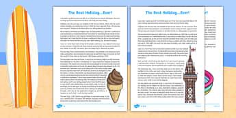 Holiday Recount Writing Sample