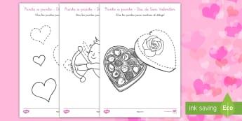Ficha de actividad: Punto a punto - Día de San Valentín - día de San Valentín, San Valentin, punto a punto, motricidad fina, contar, contando, amor, enamora