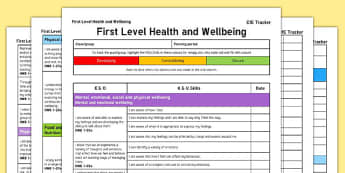 Health and Wellbeing CfE First Level Tracker - CfE, planning, mental, social, physical, sport, food, safety, relationships, sexual health, parenthood, I can, First