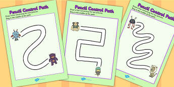 Monster Themed Pencil Control Path Worksheets - control, monster