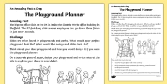 The Playground Planner Activity Sheet, worksheet
