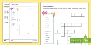 Colours Crossword French - puzzle, revising, writing.,French