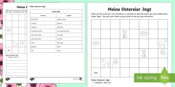 Easter Egg Hunt: Write Your Own Directions Activity Sheet German - Easter, German, Directions in German, worksheet, egg, hunt,