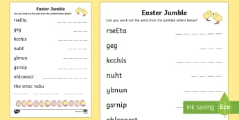 Easter Acronym Activity - NI Easter, chocolate egg, chick, acronym, puzzle, hot cross buns