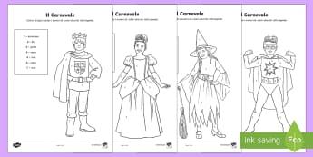 Costumi di carnevale Colora con i Numeri - carnevale, costume, travestimento, colaora, colorare, italiano, italian