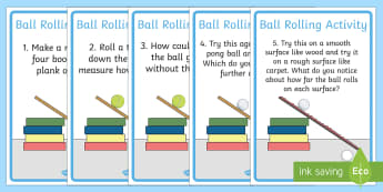 Ball Rolling Experiment Instructions - Force, Movement, activity, experiment, force, forces, gravity, push, pull, Magnet, friction, science, knowledge and understanding of the world