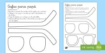 Ficha de actividad: Las gafas de papá - Día del Padre - día del Padre, padre, papá, papi, manualidad, gafas, regalo, ,Spanish