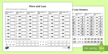 More and Less Activity Sheet - NI KS1 Numeracy, less, more, worksheet, chart, homework, home learning, review, revision, worksheet