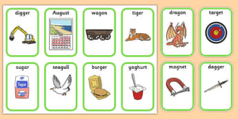 Medial g Playing Cards - speech sounds, phonology, articulation, speech therapy, dyspraxia