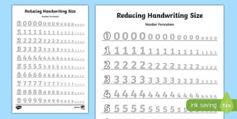 0-9 Reducing Handwriting Size Number Formation Worksheets - 0-9, reducing, handwriting, size, number, formation, worksheet