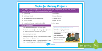 Galway Project   Topics Display Poster - ROI - The World Around UsWAU, projects, galway, ireland, local place, research,Irish