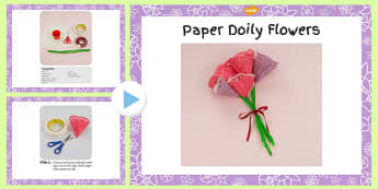 Paper Doily Flowers Craft Instructions PowerPoint - doily, craft