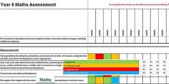 2014 Curriculum Year 6 Maths Assessment Spreadsheet - numeracy