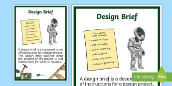 Design Brief Display Poster - design technology, instructions, specifications, design project, planning, evaluation