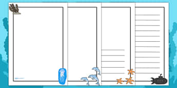 Under the Sea Page Borders - Under the sea, sea, seaside, page border, a4 border, template, water, tide, fish, sea creatures, shark, whale, marine, dolphin, starfish, waves, sand