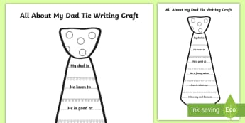 Father's Day Writing Craft - Canada Father's Day 18th June, father, dad, father's day, tie, craft, writing, art