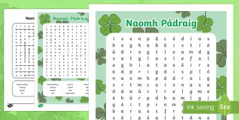 ROI Naomh Pádraig Word Search - ROI - St. Patrick's Day Resources, Naomh Pádraig, wordsearch,Irish.