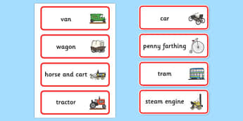 Old Transport Word Cards - transport, word cards, keywords, words