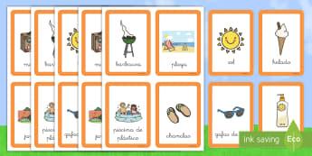Tarjetas de emparejar: Verano - emparejar, juego, tarjetas, verano, playa, barbacoa, vocabulario, vacaciones, estaciones, estación,
