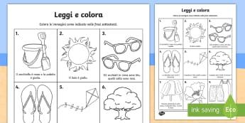Leggi e colora dell'estate Attività - comprensione, leggere, lettura, colori, colorare, estivo, estate, esercizio, materiale, scolastico,