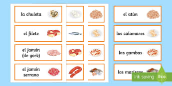 Meat and Fish Word Cards Spanish - Spanish, Vocabulary, meat, fish, word, cards, food, drinks