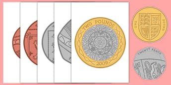A4 British Coin Cut-Outs - a4, british coins, british, coins, money, cut outs, display