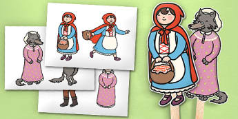 Little Red Riding Hood Stick Puppets - Little Red Riding Hood, stick puppet, traditional tales, tale, fairy tale, Wolf, Grandma, woodcutter, bed, cottage, forest, what big teeth you have