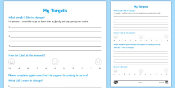 Goals/Targets Young People & Families Case File Recording Template - Young People & Families Case File Recording, referral, chronology, contents page,buddy system, safeg