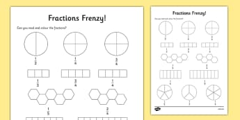 Fractions Frenzy Read and Colour Activity Sheet - fractions, frenzy, read and colour, activity, worksheet