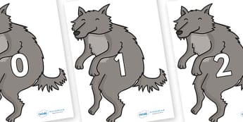 Numbers 0-31 on Wolves- 0-31, foundation stage numeracy, Number recognition, Number flashcards, counting, number frieze, Display numbers, number posters