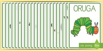 La oruga glotona Póster DIN A4 - lecto, leer, literatura infantil, cuentos, cuento, crecimiento, ciclo de vida, ciclo vital, bichos,