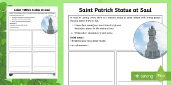 Saint Patrick Statue at Saul Read and Draw Activity Sheet - World Around Us KS2 - Northern Ireland, St. Patrick, Saul, St. Patrick's Day, saints, Downpatrick R