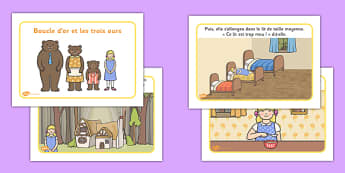 Goldilocks and the Three Bears Story French - traditional, tale, stories, fairy, tale, french, MFL, France, Francais