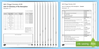AQA Chemistry Unit 4.9 Chemistry of the Atmosphere Test - KS4 Assessment, Test, atmosphere, pollution, polluting, gases, greenhouse gases, climate change, car
