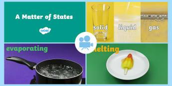 Changing States Video - Animations, states, changes, reversible, irreversible, melt, freeze, evaporate, melting, freezing, m