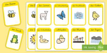 Der Frühling Wort- und Bildkarten - spring, season, lamb, flowers, rain, blossom, sun, nest, Frühling, Jahreszeit, Lamm, Blumen, Regen,