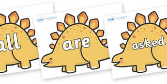 Tricky Words on Stegosaurus Dinosaurs - Tricky words, DfES Letters and Sounds, Letters and sounds, display, words