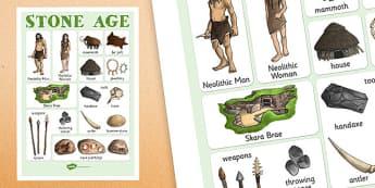 The Stone Age Vocabulary Mat - stone age, vocab, keywords, KS2
