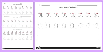 Letter Writing Worksheets A-Z - letter, writing, worksheets