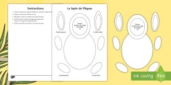 Feuille d'activités pour apprendre à découper : Le lapin de Pâques - Pâques, découpages, lapin de pâques, lapin, affichage, activités, Lent/Easter 2017,paper craft,