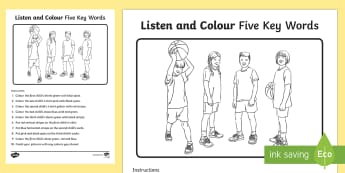 Listen and Colour 5 Key Words Activity Sheet - listening, receptive language, ICW, information carrying word, attention, SLCN, language delay, lang