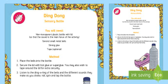 Ding Dong Sound Sensory Bottle - Phase 1, Aspect 1, General Sound Discrimination, Environmental Sounds, phonics, letters and sounds
