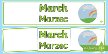 March Display Banner English/Polish - march, display banner, display, banner, months, year, abnner, EAL,Polish-translation