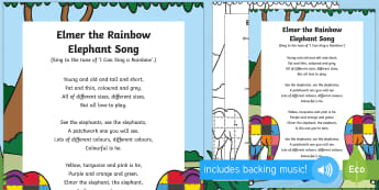 Elmer the Rainbow Elephant Song - Elmer, David McKee, colour, patchwork, elephant, wilbur, song, singing, songtime