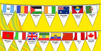 Rio Olympics 2016 Country Flags Bunting Arabic Translation - arabic, rio olympics, 2016 olympics, country, flags, bunting, display