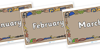 Months of the Year on Egyptian Bricks - Months of the Year, Months poster, Months display, display, poster, frieze, Months, month, January, February, March, April, May, June, July, August, September