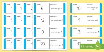 Tarjetas de emparejar: Uno más, uno menos - uno más, uno menos, tarjetas de buscar y emparejar, emparejar, juego, tarjetas, mates, matemáticas