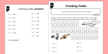 Adding and Subtracting Three-Digit Numbers and Ones Cracking Codes Activity Sheet - Addition and Subtraction, Add, more, plus, and, altogether, total, equal to, subtraction, worksheet,